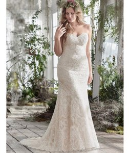 Maggie Sottero Ivory/Light Gold Lace Tulle A-line Fredricka Formal Wedding Dress Size 18 (XL, Plus 0x)
