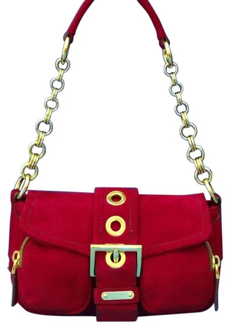 Item - Pattina Double Zip Pocket Rubino Camoscio Red Suede W/ Gold Chain and Leather Baguette