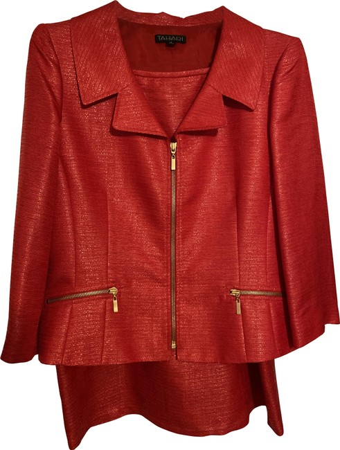 Item - Red With Gold Zippers Skirt Suit Size 12 (L)
