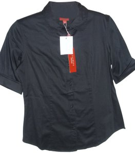 Talbots Tailored Fitted Sophisticated Preppy Classic Top black