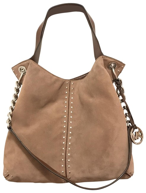 Item - Uptown Astor Studded Suede Beige Brown Silver Leather Tote