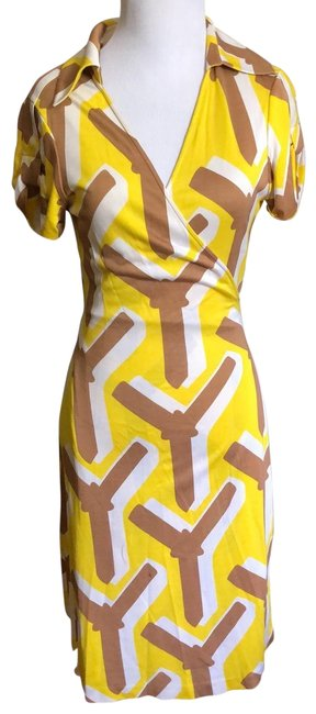 Item - Yellow Tan White Vintage Mid-length Short Casual Dress Size 6 (S)
