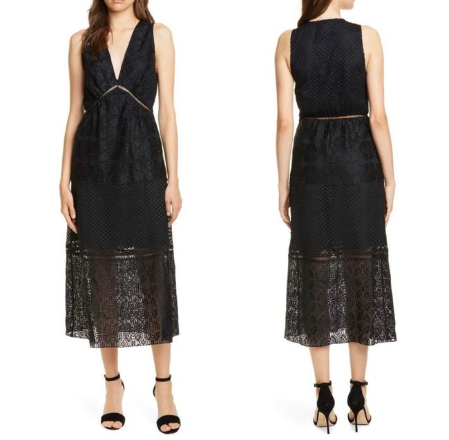 Item - Black Ardal Lace Midi In Caviar Mid-length Formal Dress Size 6 (S)