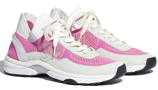 Item - White 20s Pink Fabric Cc Logo Lace Up Tie Flat Runner Trainer Sneakers Size EU 37.5 (Approx. US 7.5) Regular (M, B)