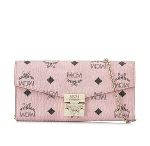 MCM Soft Pink Coated Canvas Visetos Wallet With Chain myl8spa11pz001