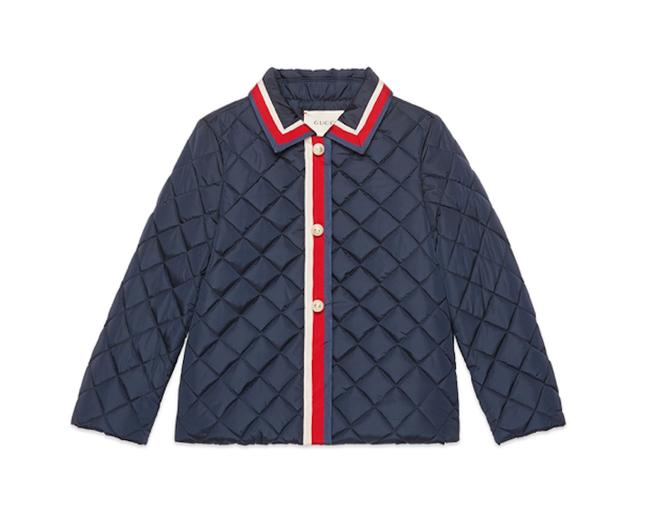 Item - Blue Girls Puffer Quilted Web Trim Jacket Coat Size OS (one size)