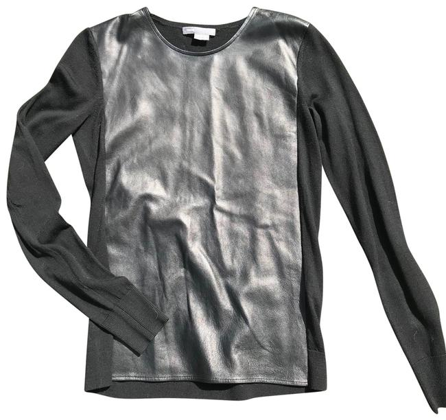 Item - Leather Front Paneled Black Sweater