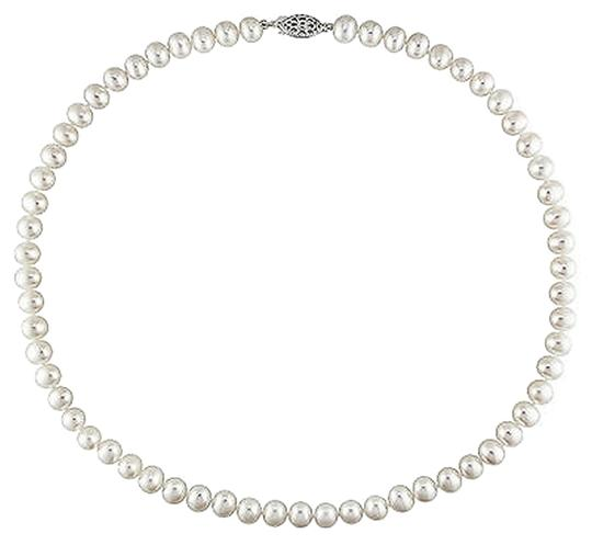 Other Sterling Silver Freshwater White Pearl Necklace With Ball Clasp 6.5-7 Mm