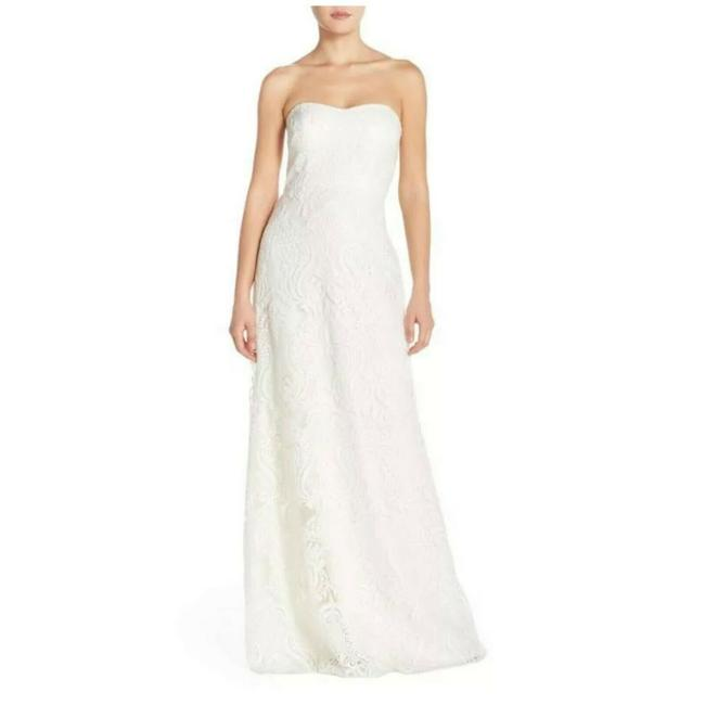 Item - White Sadie Sequin Lace Strapless A-line Gown Long Night Out Dress Size 10 (M)