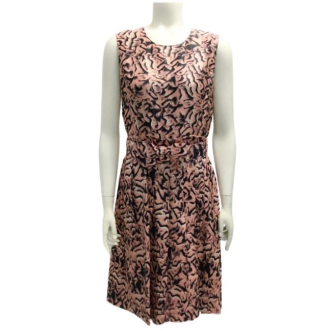 Item - Pink and Navy Silk Print Short Cocktail Dress Size 8 (M)
