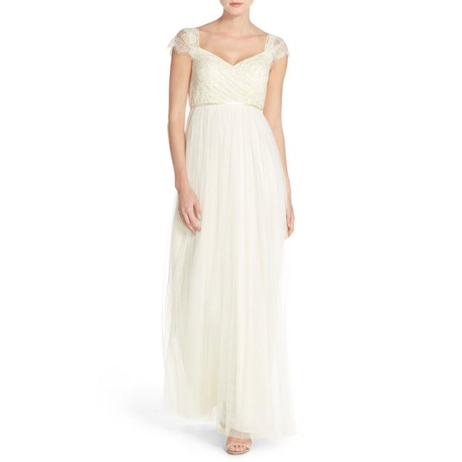 Item - Cream Leighton Off The Shoulder Lace & Tulle Gown Long Night Out Dress Size 4 (S)