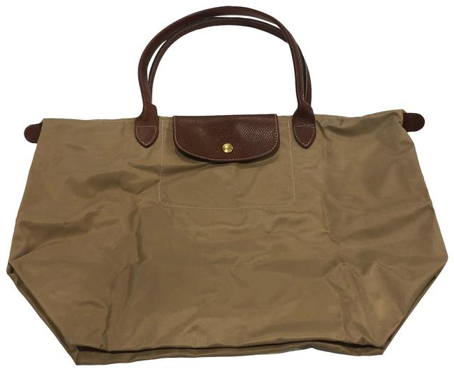 Item - Pliage Gold Tan Leather and Nylon Tote