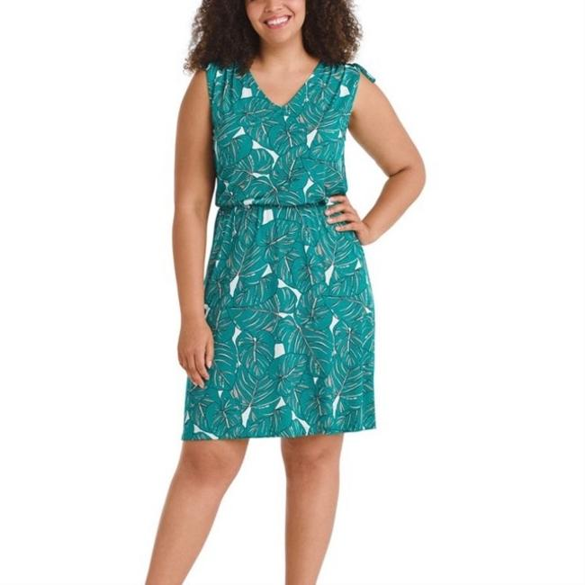 Leota Green Jersey Rainforest Tara Mid-length Short Casual Dress Size 12 (L) Leota Green Jersey Rainforest Tara Mid-length Short Casual Dress Size 12 (L) Image 1
