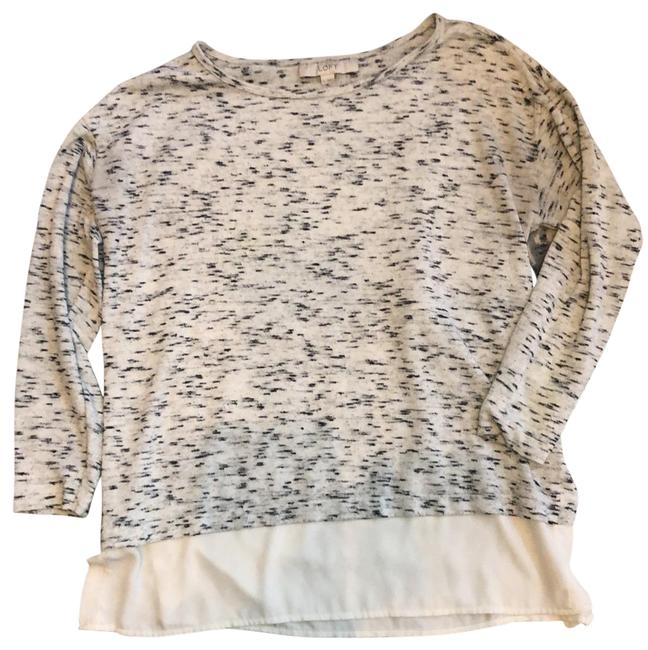 Item - Black Gray and Ivory Layered Look Tunic Size 6 (S)