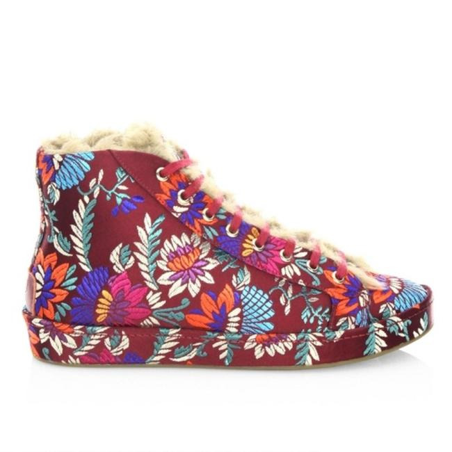 Item - Red Purple Floral High-top Sneakers. Flats Size US 6 Regular (M, B)