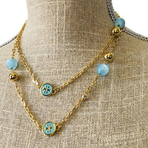 Tory Burch NEW Tory Burch Convertible Lacquered Logo Rosary Necklace in Turquoise