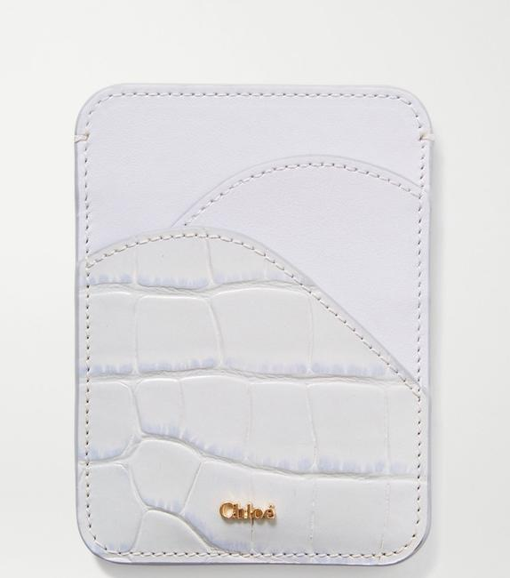 Item - Light Grey Smooth and Croc-effect Leather Cardholder Wallet