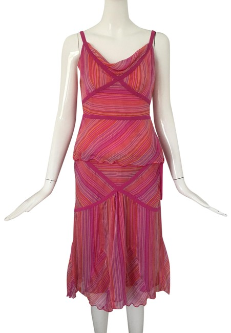 Item - Pink/ Lavender 2 Piece Set Silk Mid-length Short Casual Dress Size 6 (S)