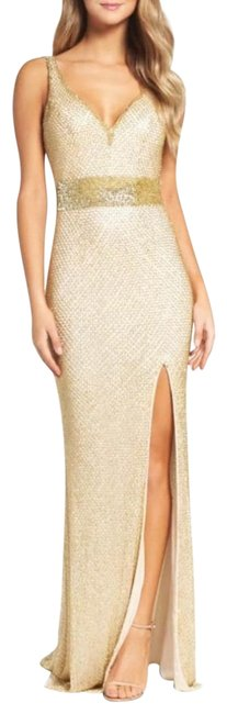 Item - Gold Beaded V Neck Gown Long Formal Dress Size 4 (S)