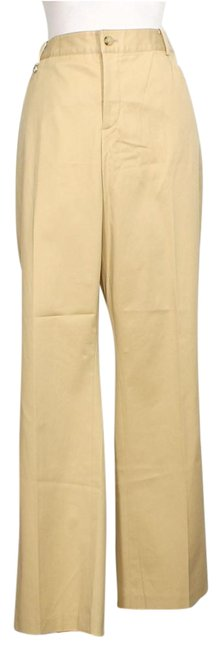 Item - Tan Stretch Cotton Twill Slimming Fit Logo Tab Pants Size 14 (L, 34)