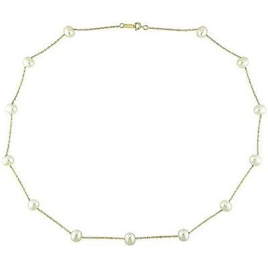Other 10k Yellow Gold White Freshwater Pearl Tin-cup Necklace 5.5-6 Mm Aaa Grade