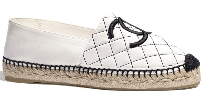 Item - White 20p Black Quilted Lambskin Leather Cc Logo Espadrille Slip On Flats Size EU 38 (Approx. US 8) Regular (M, B)