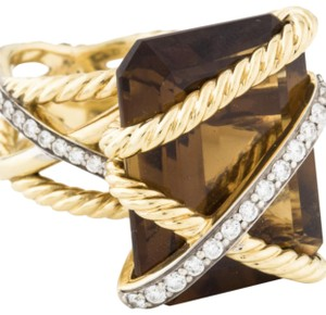 David Yurman David Yurman 18k Gold Smoky Quartz & Diamond Cable Wrap Cocktail Ring