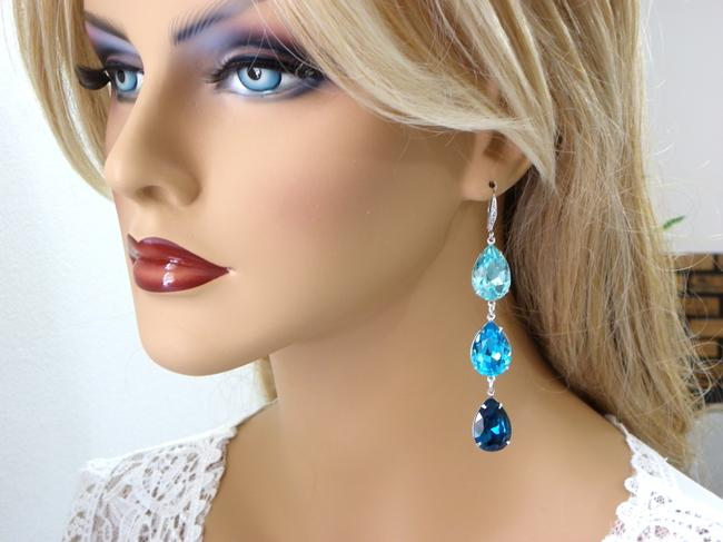 Item - Blue Three Tier Long Dangle Light Turquoise Crystal Earrings