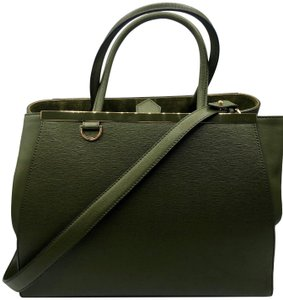 Fendi 2jours Olive Leather Ff Tote in Green