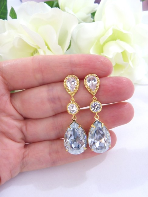 Item - Pale Blue Antique Crystal Gold Shade Earrings