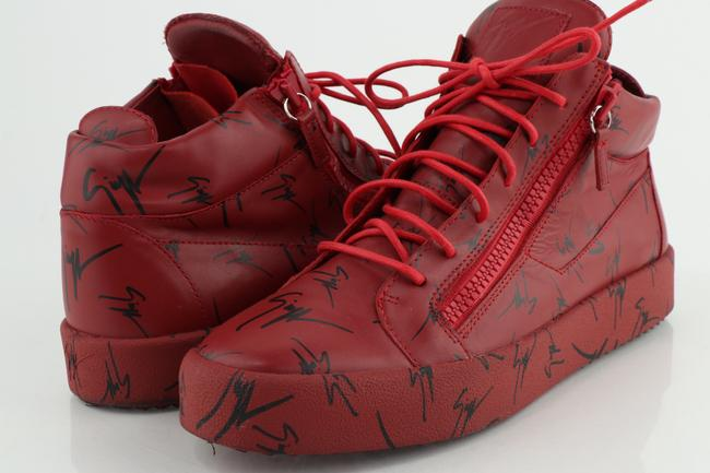 Item - Red Logo Print High-top Sneakers Shoes