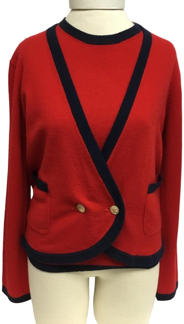 Item - Red Twinset With Navy Trim and Gold Logo Buttons Cardigan Size 6 (S)