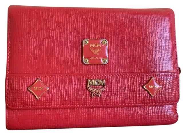 Item - Red W Med Leather Studded Logo Motifs Trifold W/ Charms Wallet
