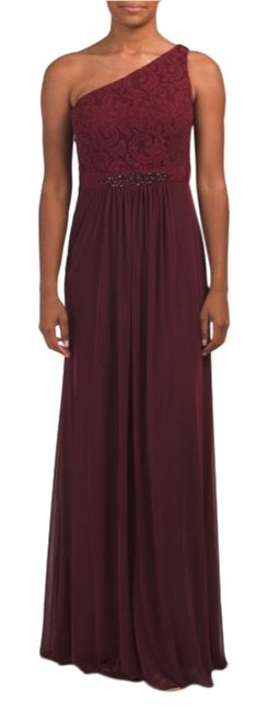 Item - Deep Wine Stretch Tulle Lace Gown Long Formal Dress Size 2 (XS)