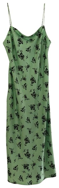 Item - Lime Green/Black Satin Floral Midi Square Casual Mid-length Cocktail Dress Size 10 (M)