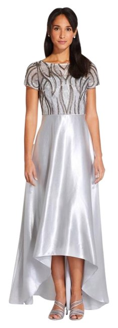 Item - Silver Embroidered Satin Hi-lo Gown Long Formal Dress Size 2 (XS)