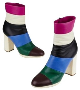 Valentino Garavani Striped Ankle Colorful Work Pink Blue Boots