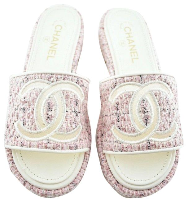 Item - Pink 20p Tweed White Quilted Cc Mesh Logo Mule Slide Flop Flat Sandals Size EU 37 (Approx. US 7) Regular (M, B)