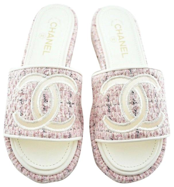 Item - Pink 20p Tweed White Quilted Cc Mesh Logo Mule Slide Flop Flat Sandals Size EU 38 (Approx. US 8) Regular (M, B)