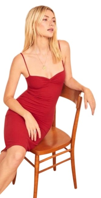 Reformation Cherry Red Mena Ribbed Body-con Mid-length Cocktail Dress Size 12 (L) Reformation Cherry Red Mena Ribbed Body-con Mid-length Cocktail Dress Size 12 (L) Image 1
