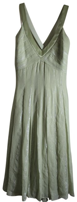 Item - Green And Metallic Mid-length Cocktail Dress Size 8 (M)