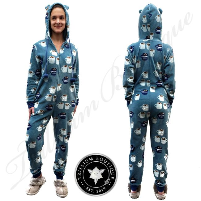 Item - Blue Women's Plush One Piece Pajama Onesie Sweatshirt/Hoodie Size 12 (L)