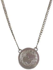 Gucci Sterling Silver Gucci Coin Charm Necklace