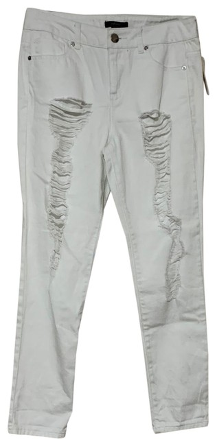 Item - White Distressed Straight Leg Jeans Size 2 (XS, 26)