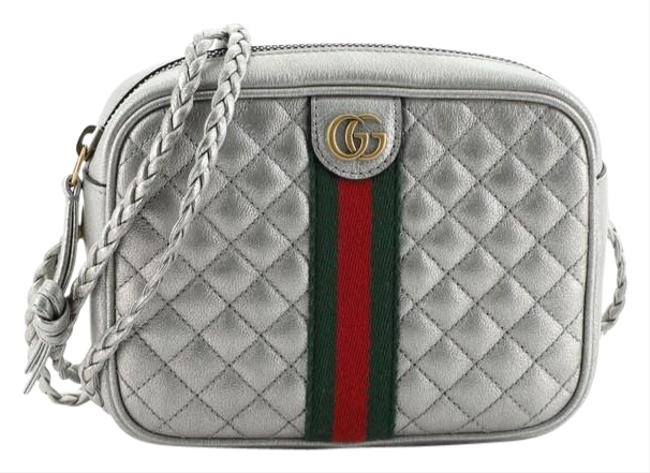 Item - Camera Trapuntata Quilted Mini Silver Leather Shoulder Bag