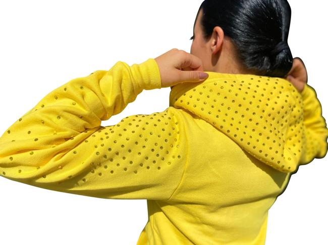 Item - Yellow Flex Zip Hoodie with Rhinestones Sweatshirt Activewear Top Size 8 (M)
