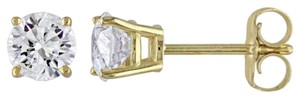 Other 14k Yellow Gold Diamond Solitaire Square Geometric Stud Earrings 0.75 Ct