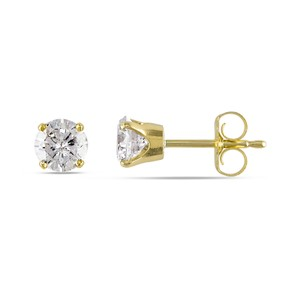 Other 14k Yellow Gold Diamond Solitaire Stud Earrings 0.75 Ct