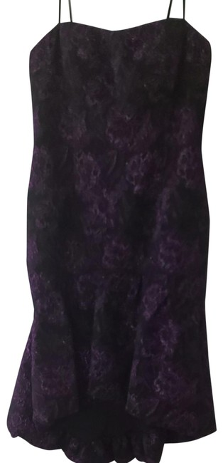 Item - Black with Purple Plum. Strapless Midi High Low Ruffle. Mid-length Cocktail Dress Size 14 (L)