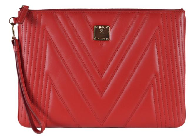 Item - Zip Top Medium Pouch Red Leather Wristlet